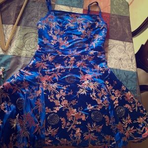 A Floral jacquard satin slip dress